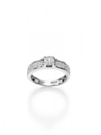 CAROLINE hv.gull ring m/diamant 0,50 ct W/SI