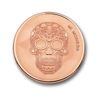Skull and fire rosegold-plated S