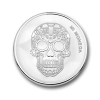 Skull and fire silver-plated S