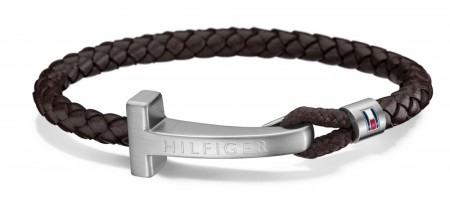 TOMMY HILFIGER CASUAL BRACELET BROWN LEATHER SS T-