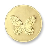 Elephant-butterfly gold-plated M